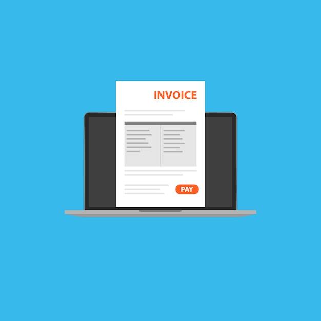 Счет-фактура в вашем ноутбуке клипарт Premium векторы