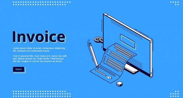 Invoice isometric landing page, tax payment bill Free Vector