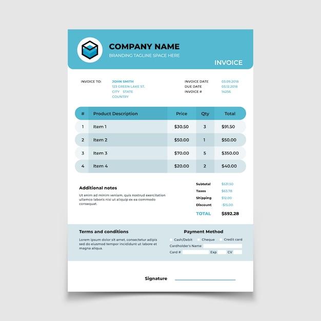 Premium Vector Invoice Template Bill Form Bookkeeping Document Design