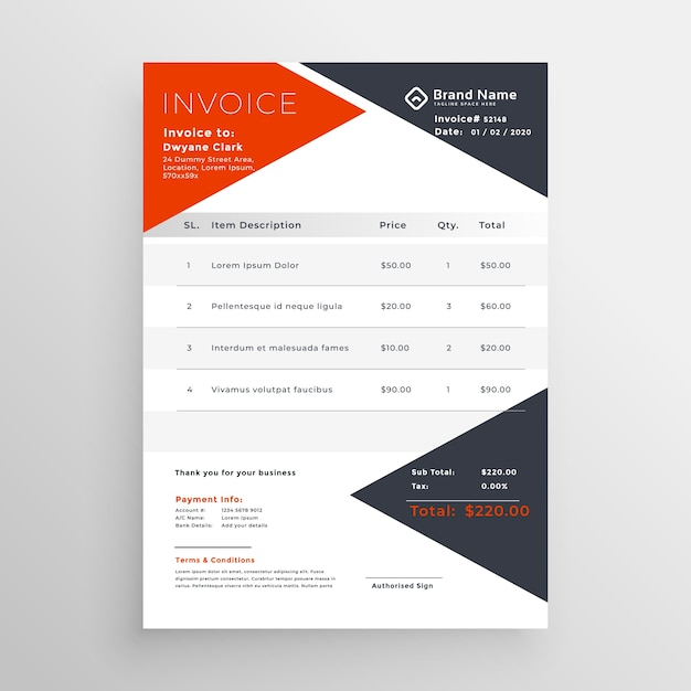Invoice Template Design For Your Company Business Vector Free Download