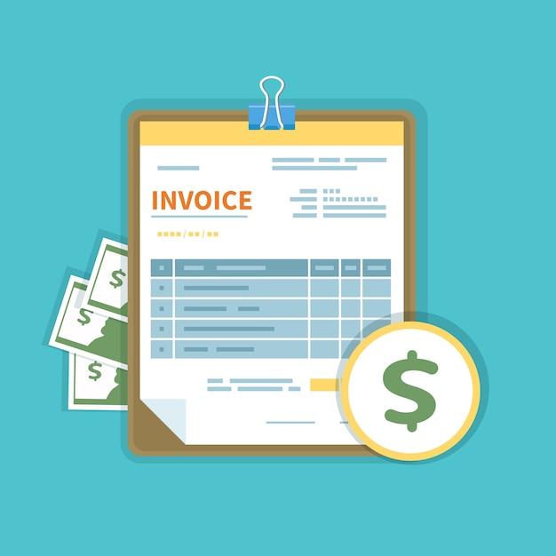 Счет-фактура с деньгами на изолированном планшете. незаполненная, минималистичная форма документа. Premium векторы