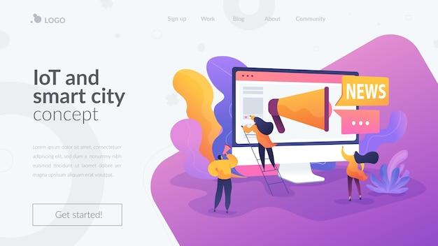 Шаблон целевой страницы интернета вещей и умного города Бесплатные векторы