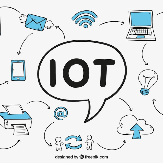 Iot background with drawings of technological devices Free Vector