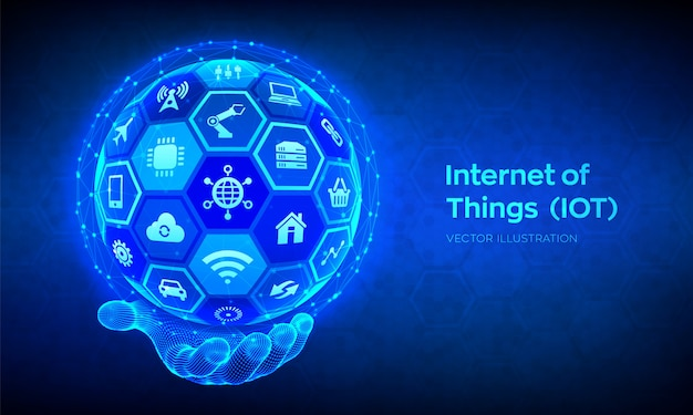 Iot. internet of things . everything connectivity device  network, and business with internet. abstract 3d sphere or globe with surface of hexagons in wireframe hand.  illustration Premium Vector