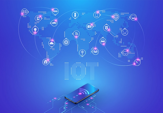 (iot) internet of things and network connection Premium Vector