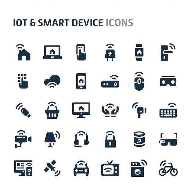 Iot & smart device icon set. fillio black icon series Premium Vector
