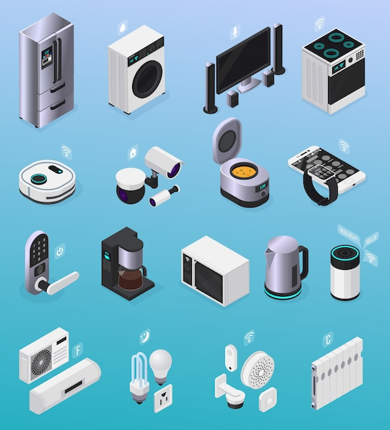 Iot smart home remote controlled electronic devices isometric icons collection with refrigerator tv stove coffeemaker  illustration Free Vector