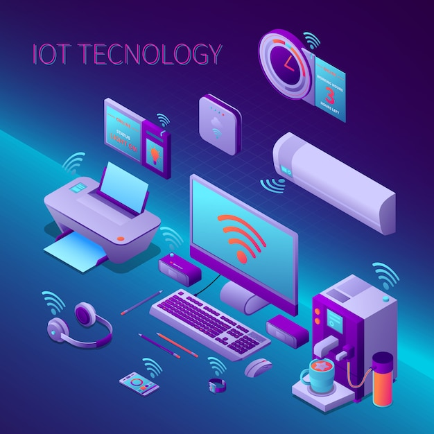 Iot technology isometric composition with office equipment and electronic personal gadgets vector illustration Free Vector