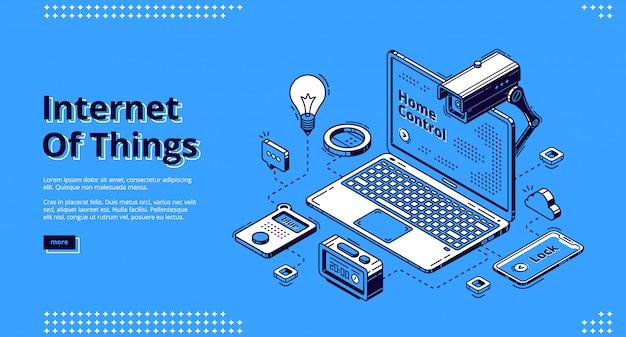 Интернет вещей изометрические веб-баннер, iot. Бесплатные векторы