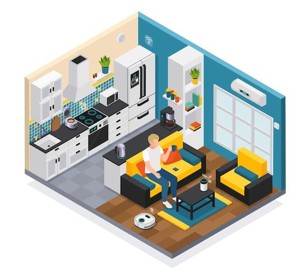 Iotリモート制御キッチンリビングルームデバイスイラストのインターネットとスマートホームインテリア等尺性組成物 無料ベクター