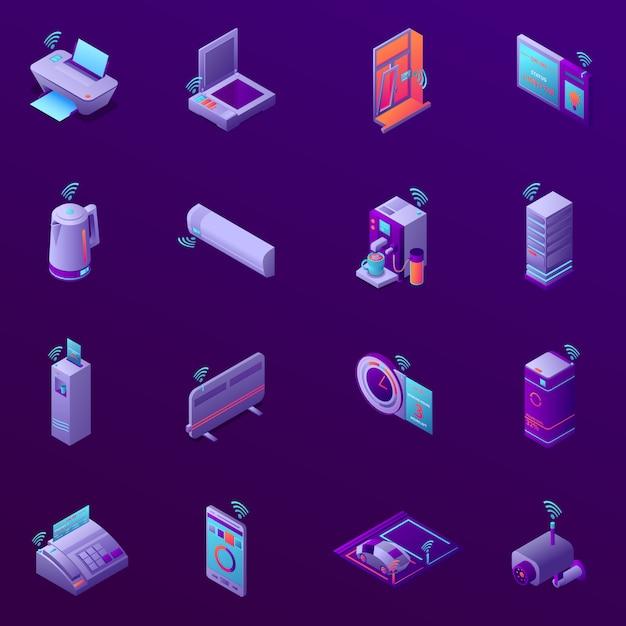 Набор изометрических иконок с технологией iot для бизнес-офиса, изолированных векторная иллюстрация Бесплатные векторы