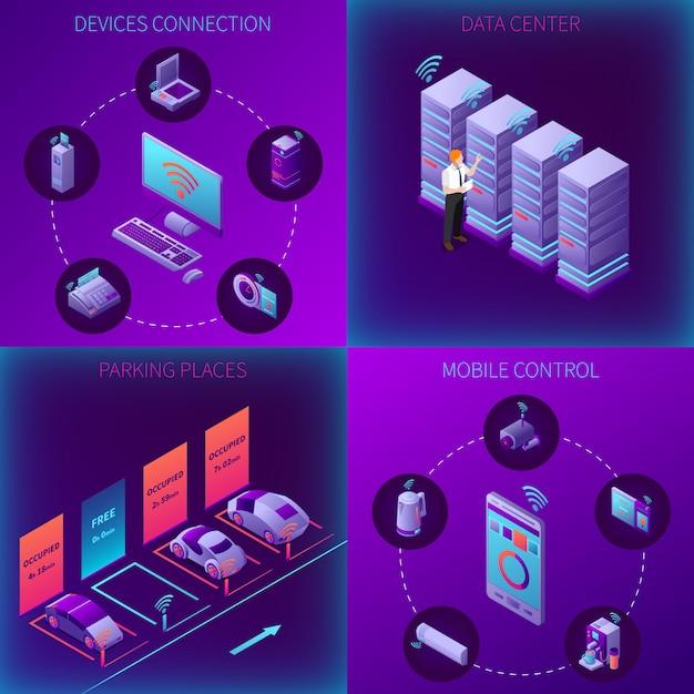 Iot бизнес офис изометрической концепции с устройствами подключения дата-центра парковки и мобильного управления, изолированных векторная иллюстрация Бесплатные векторы