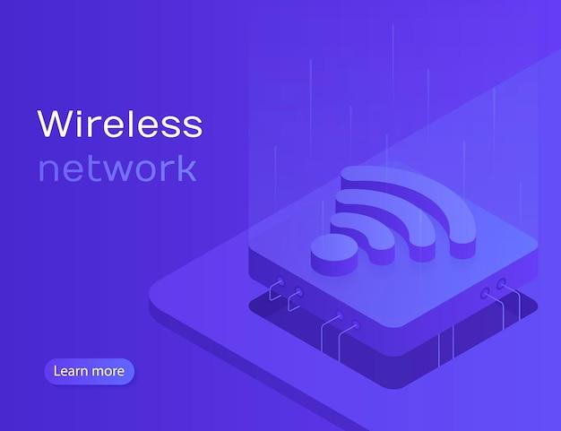 スマートフォンのワイヤレステクノロジーを介したiotオンライン同期および接続。無線ネットワーク。アイソメ図スタイルのモダンなイラスト Premiumベクター