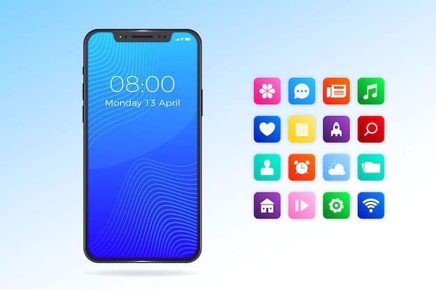 Iphone 11 apps and phone realistic design Free Vector