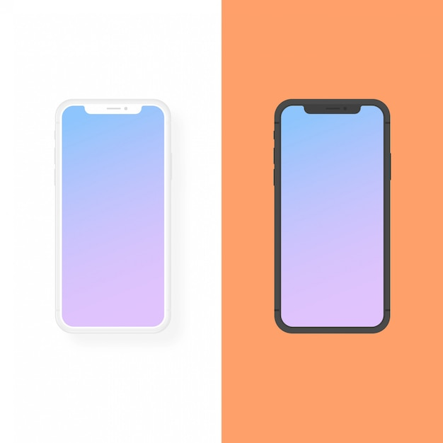 Iphone clay and flat design vector mockup Premium Vector