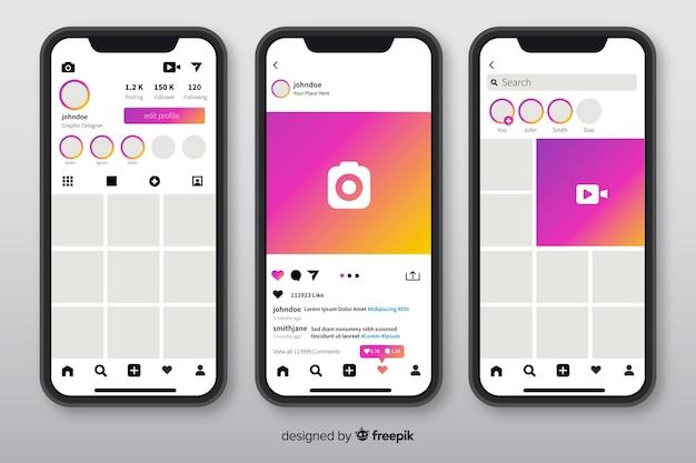 Iphoneのinstagramフォトフレームのテンプレート 無料ベクター