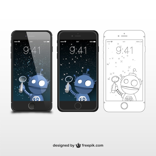 Iphone sketch and illustrations Free Vector