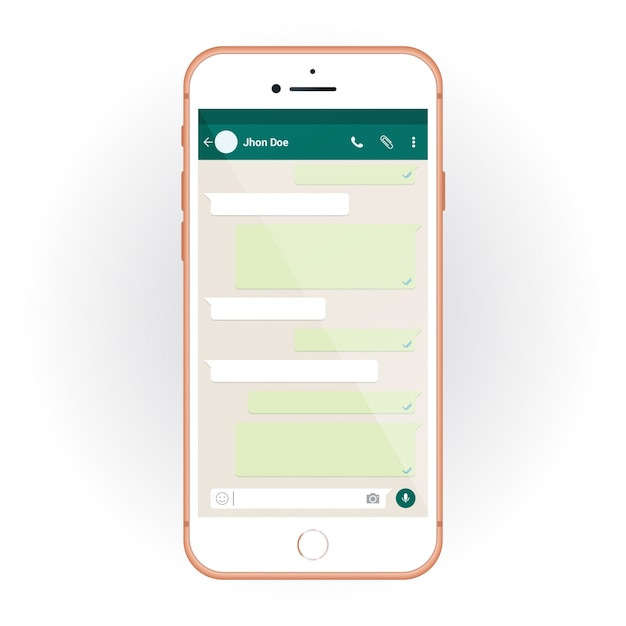 IPhone with mobile UI kit WhatsApp messenger. Smartphone mockup and chat app Free Vector