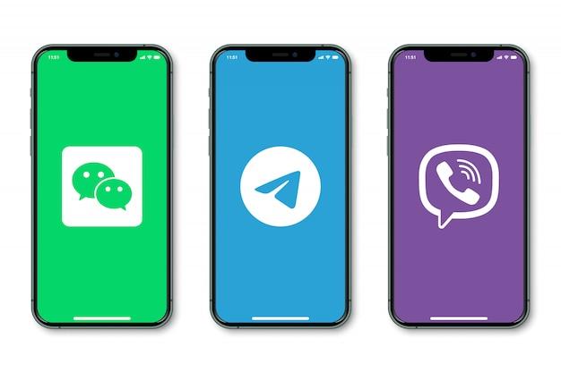 Iphone с логотипом социальных сетей на экране Premium векторы