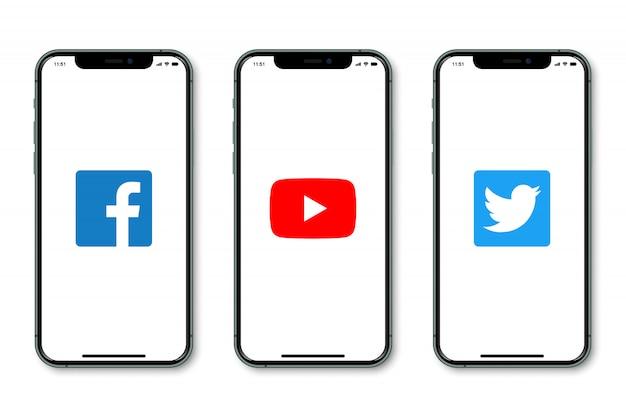 Iphone with social media logo on screen Premium Vector