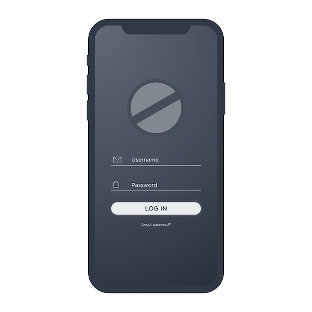 Iphone x mobile with login ui kit Premium Vector