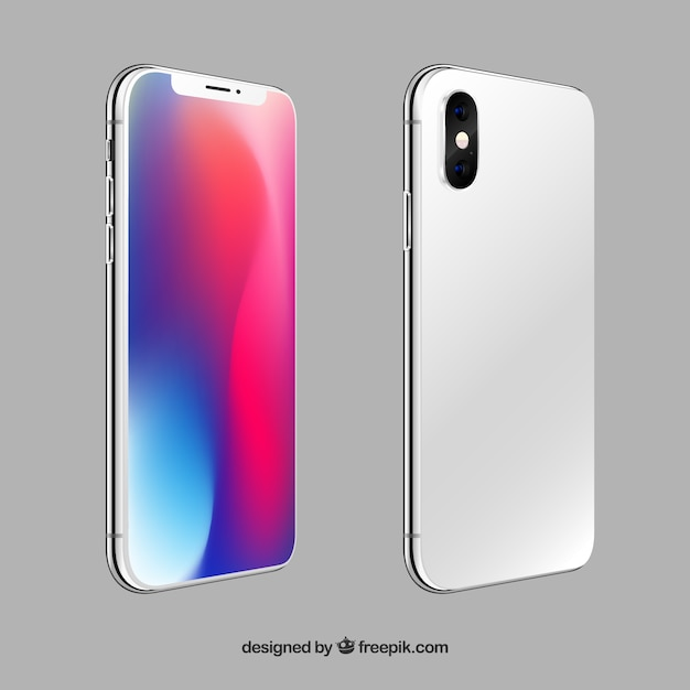 Iphone x with different views in realistic style Free Vector