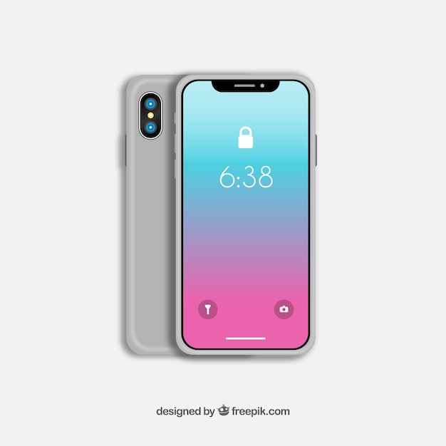 Iphone x with gradient wallpaper Free Vector