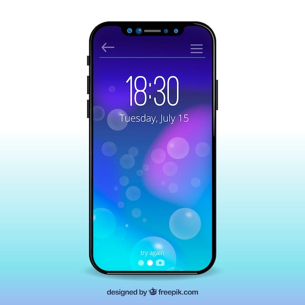 Iphone x with gradient wallpaper Vector | Free Download