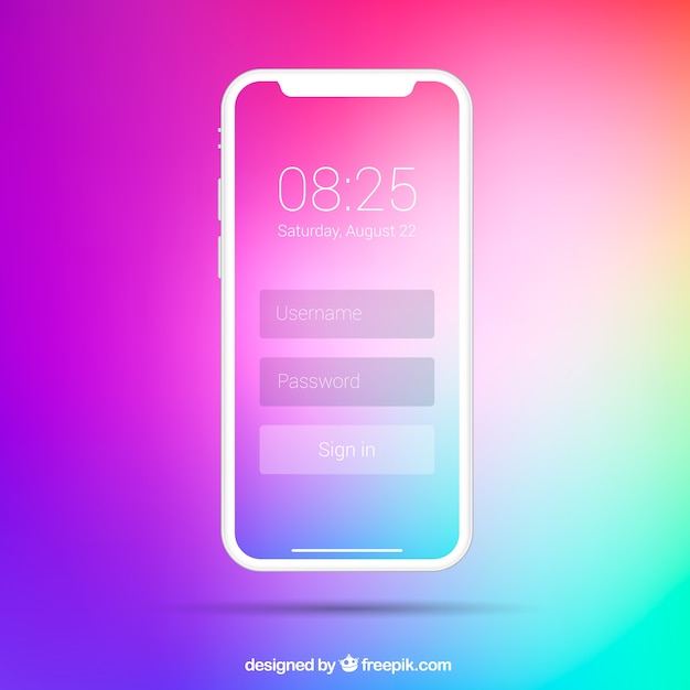 Iphone X With Gradient Wallpaper Vector Free Download