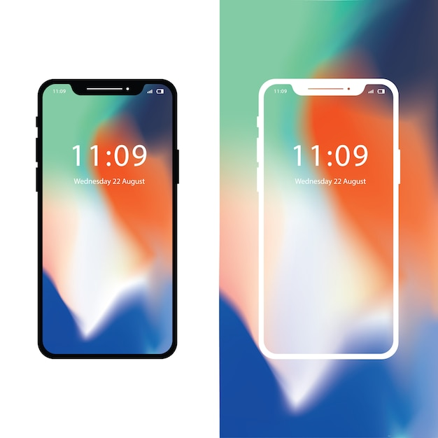 Iphone x with gradient wallpaper Premium Vector