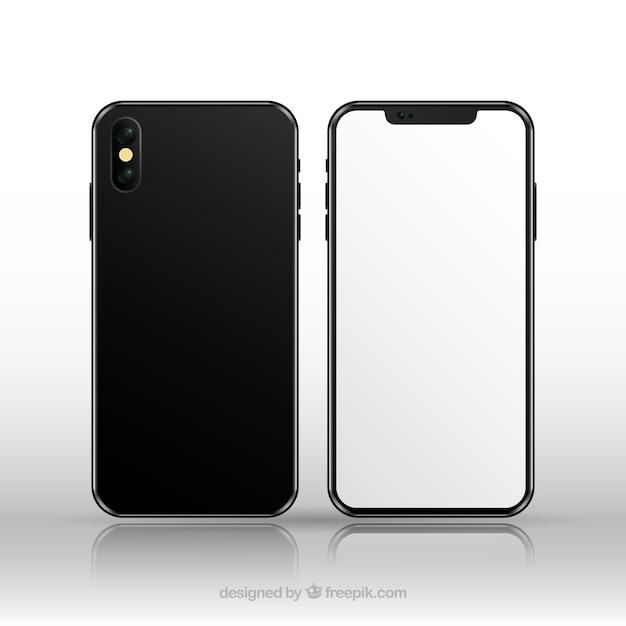 현실적인 스타일의 흰색 화면이있는 Iphone X 프리미엄 벡터
