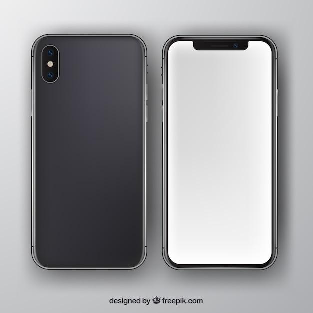 Iphone x с белым экраном в реалистичном стиле Premium векторы