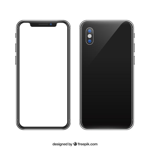 현실적인 스타일의 흰색 화면이있는 iphone x 무료 벡터