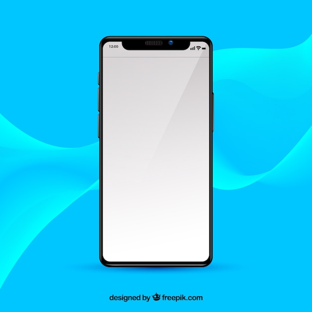 Iphone x with white screen in realistic style Vector ...