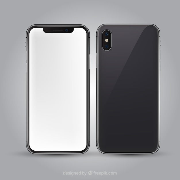 Iphone x with white screen in realistic style Free Vector