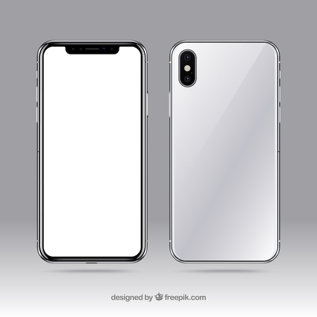 Iphone x with white screen Free Vector
