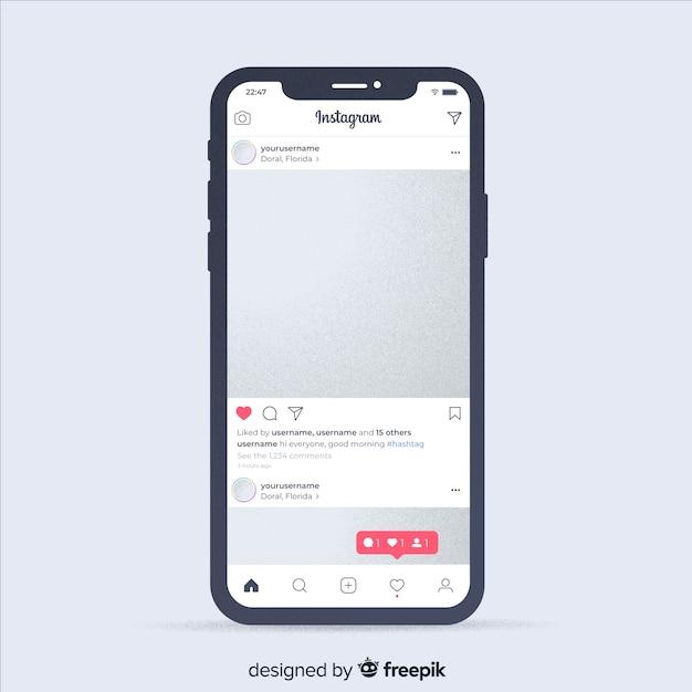 Реалистичная фоторамка на шаблоне iphone Бесплатные векторы
