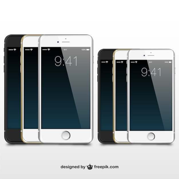 Iphones illustration vector Free Vector