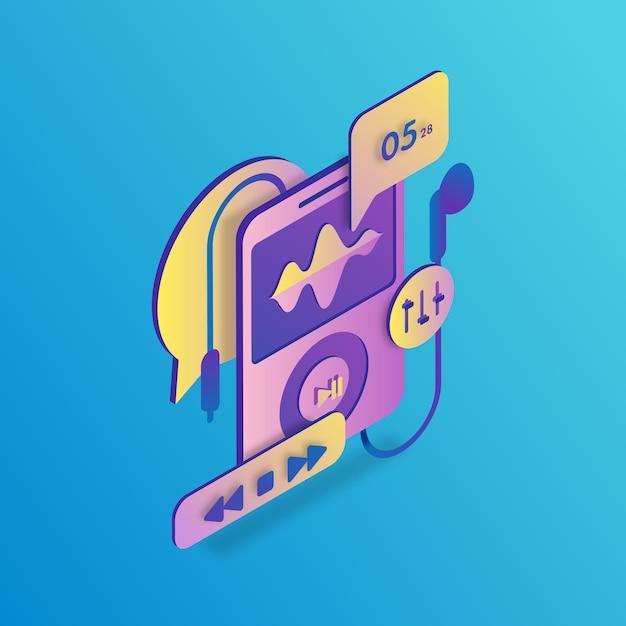 Ipod isometric illustration Premium Vector