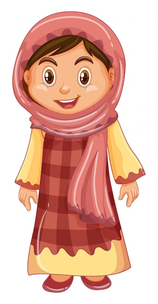 Irag girl in traditional costume Free Vector