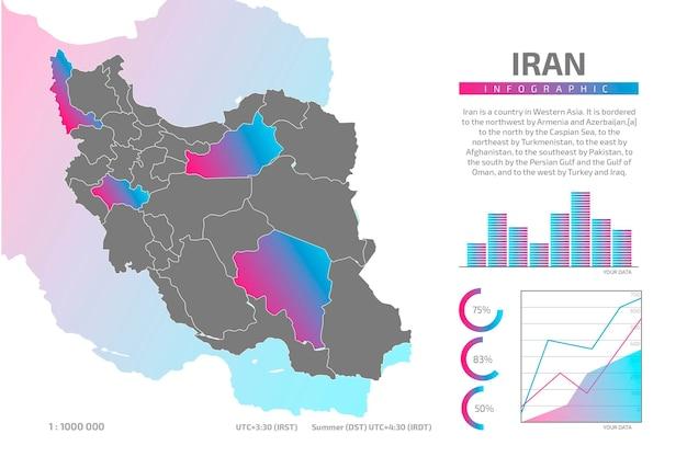 Iran mappa infografica Vettore gratuito