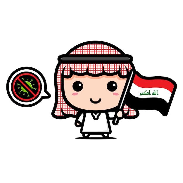 ウイルスに対するフラグを持つイラクの少年 Premiumベクター