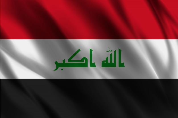 イラクの旗の抽象的な背景を振って Premiumベクター