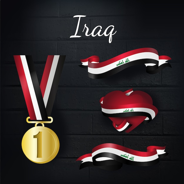 Iraq gold medal and ribbons collection Free Vector