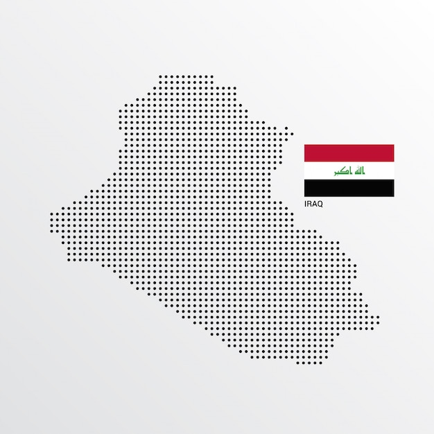 Iraq Map design with flag and light background vector Vector Free