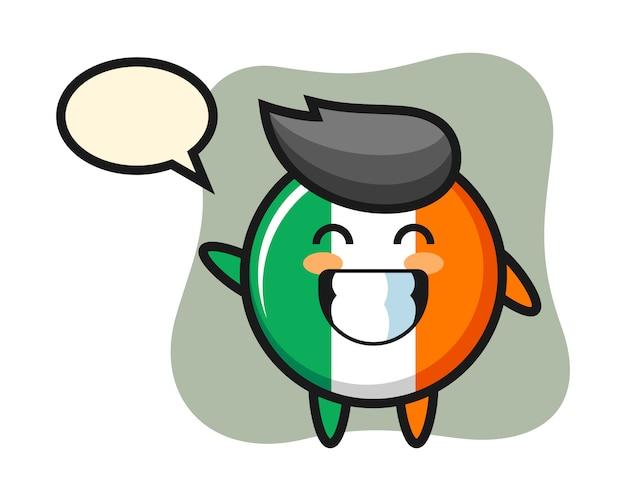 アイルランドの旗バッジの漫画のキャラクターが手を振る Premiumベクター