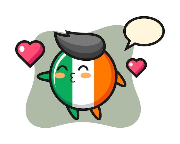 Ireland flag badge character cartoon with kissing gesture Premium Vector