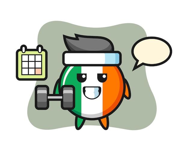 아일랜드 국기 배지 마스코트 만화 아령으로 피트 니스를 하 고 프리미엄 벡터