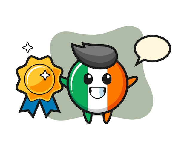 Иллюстрация талисмана значка флага ирландии с золотым значком Premium векторы