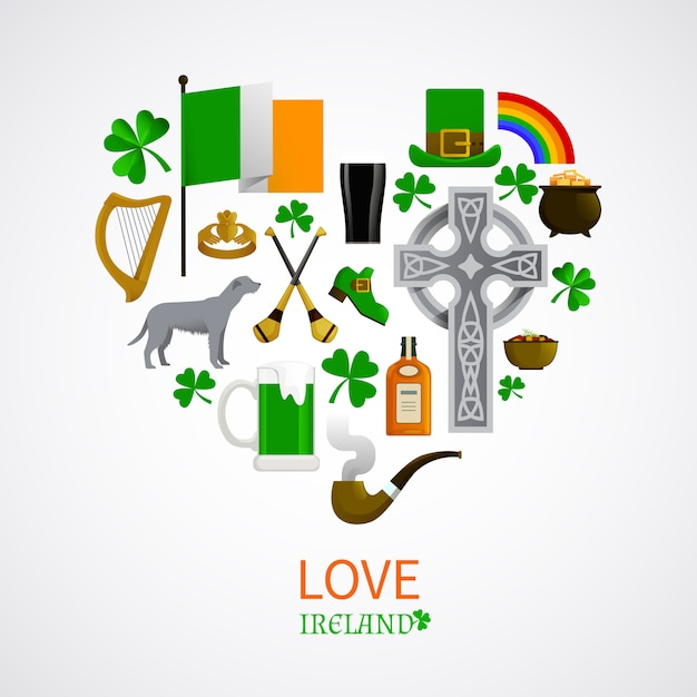 Ireland national traditions icons composition Free Vector